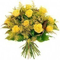 Bouquet of Yellow Roses and Mimosa