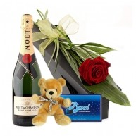 Moet, Teddy, Chocolates and Rose