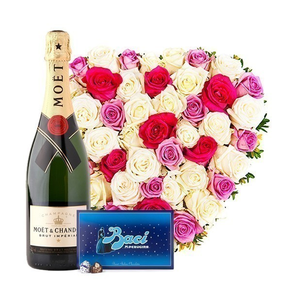 Heart of Roses with Moet & Baci