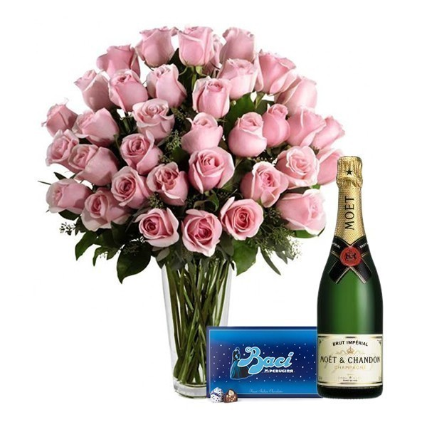 Happiness in Pink with Moet and Baci