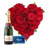 Heart of Roses with Moet & Baci Chocolates