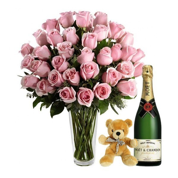 Happiness in Pink with Moet and Teddy