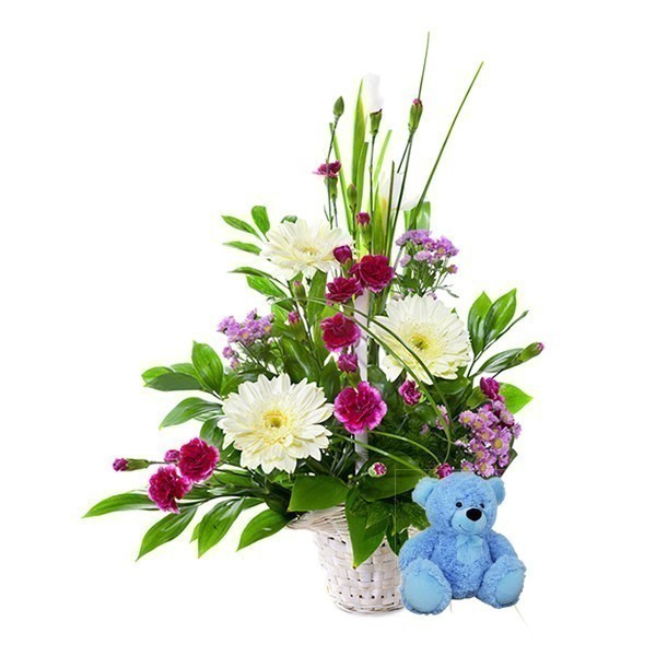 Flowers For A Baby Boy With Free Teddy