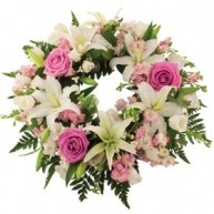 Wreath With White Lilies & Pink Roses